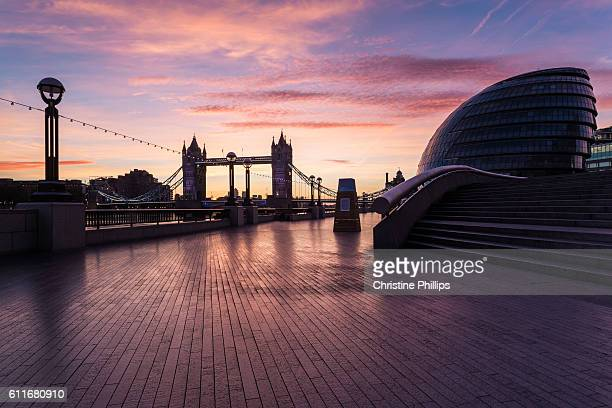 Tower Bridge and London City Hall at sunrise