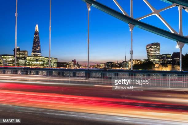 Tower Bridge and London city skyline at dusk