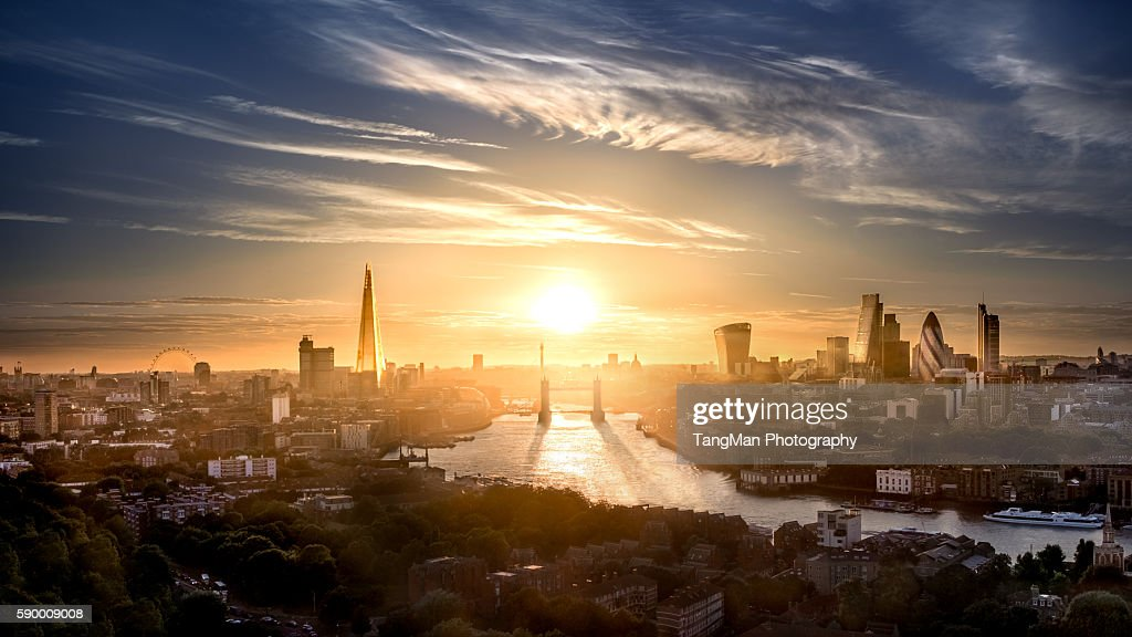 Tower Bridge and London The City Along The Thames : Stock Photo