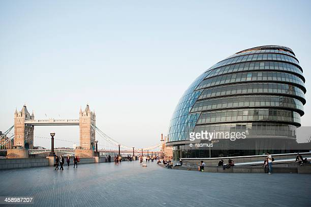 tower bridge and new city hall - town hall stock photos and pictures