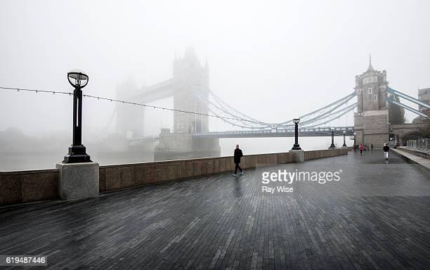 Tower Bridge and promenade in the fog.