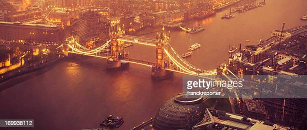 Tower Bridge and river thames aerial view