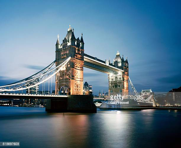 Tower Bridge and River Thames of London, dusk