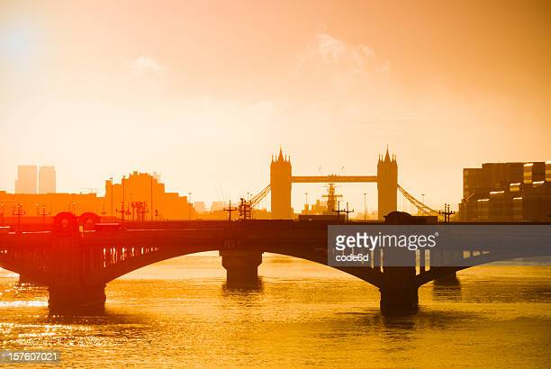 Tower Bridge and Southwark, London, early morning sunrise
