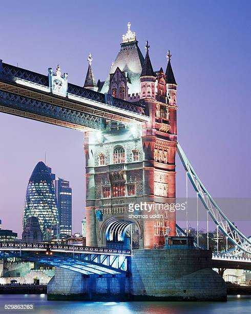 Tower Bridge and The City at dusk