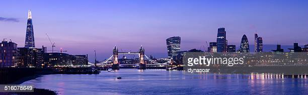 Tower Bridge and the City of London skyline sunset panorama