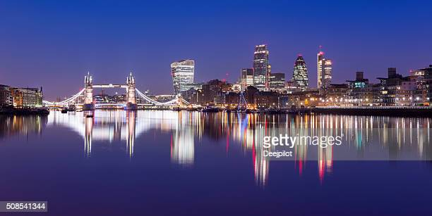 Tower Bridge and the downtown city skyline at twilight London,