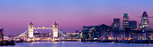 Tower Bridge and the London City Skyline UK