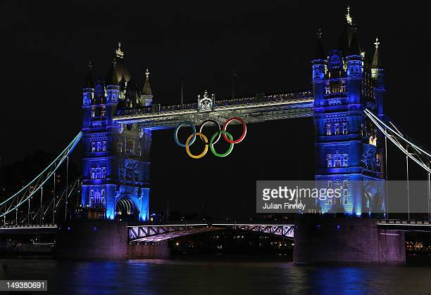 Tower Bridge and the olympic rings are lit on July 27 2012 in London England