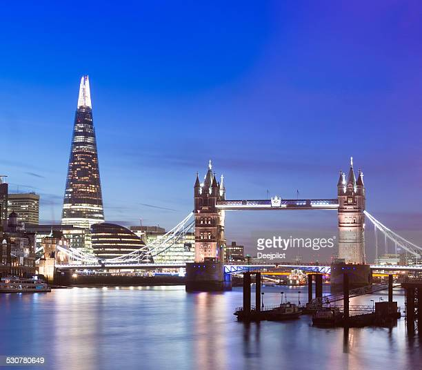 Tower Bridge and The Shard at Night in London