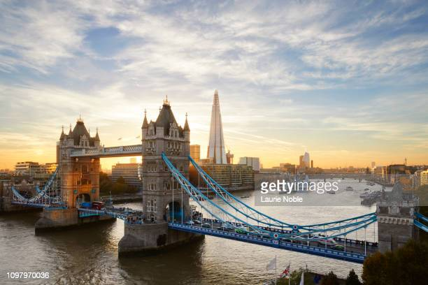 tower bridge and the shard at sunset, london, england, uk - london bridge england stock pictures, royalty-free photos & images