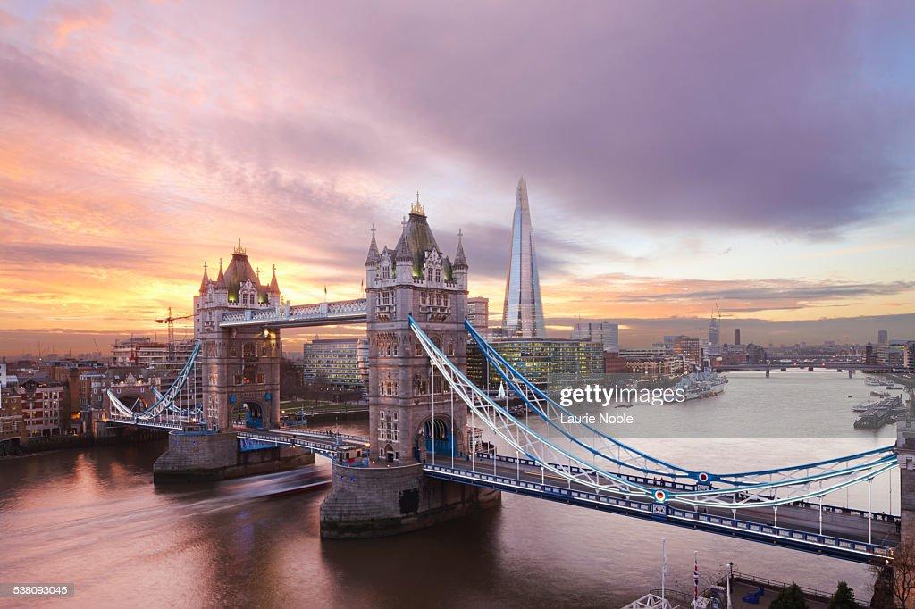 Tower Bridge and The Shard at sunset, London : Stock Photo