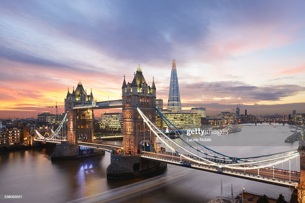 Tower Bridge and The Shard at sunset, London : Stock Photo