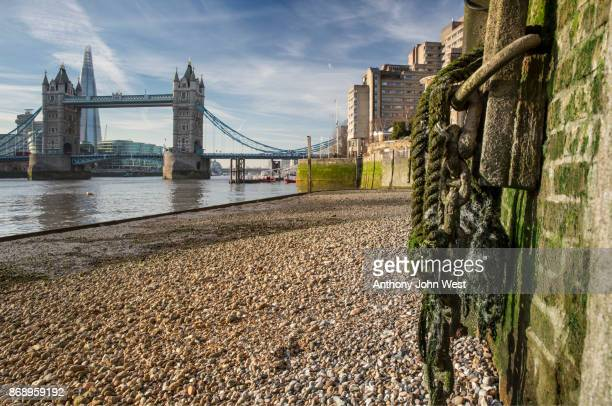 tower bridge and the shard from the river thames at low tide, london - low tide stock pictures, royalty-free photos & images
