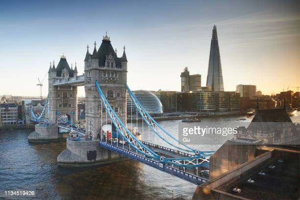 tower bridge and the shard, london, uk - london england stock-fotos und bilder