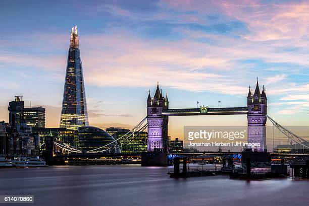 tower bridge and the shard - shard london bridge stock pictures, royalty-free photos & images