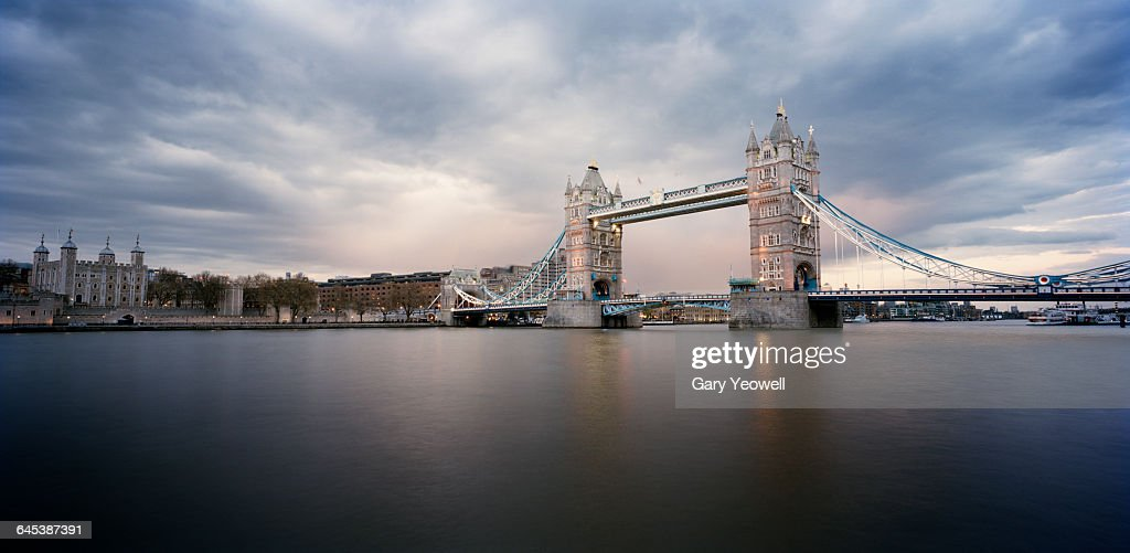 Tower Bridge and Tower of London at dusk : Stock Photo
