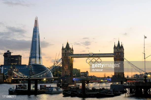 tower bridge during the 2012 olympics, london - olympian stock pictures, royalty-free photos & images