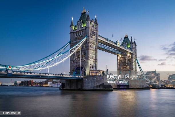 tower bridge in downtown london city, england - stock image - historical geopolitical location stock photos and pictures