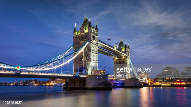 tower bridge in london at night panorama of river thames uk - british royal family stock pictures, royalty-free photos & images