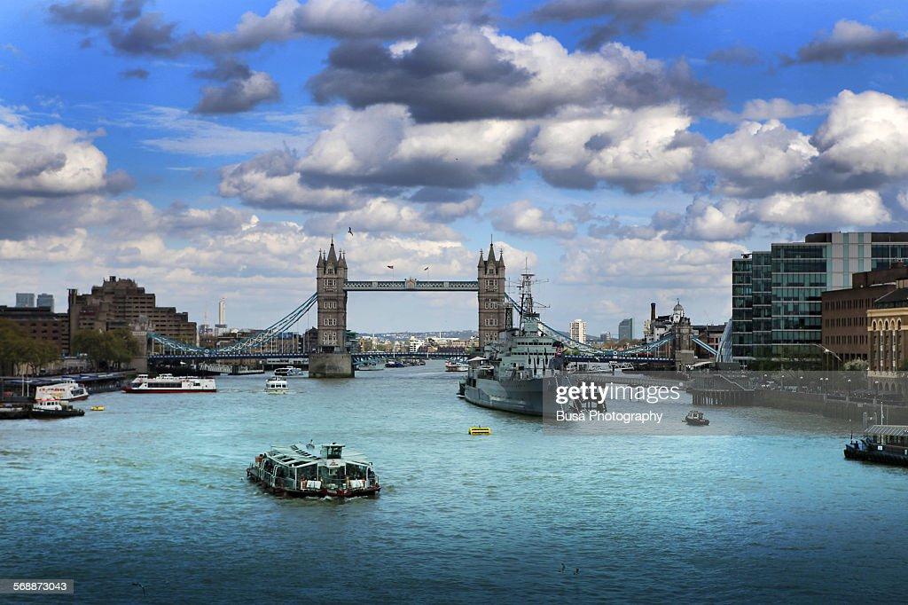 Tower Bridge in London seen from the London Bridge : Stock Photo