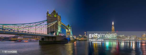 tower bridge in london transition panorama from day to night. - panoramic stock pictures, royalty-free photos & images