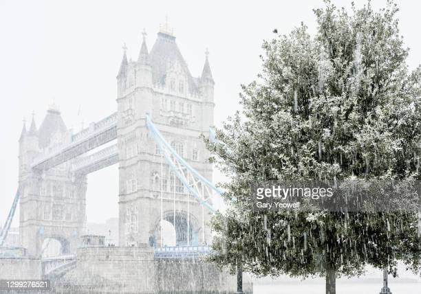tower bridge in snow - horizon over land stock pictures, royalty-free photos & images