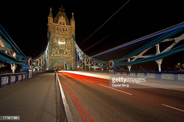 Tower Bridge is one of London's best known landmarks. A 10-stop filter was used to increase the exposure time and create the light trails.