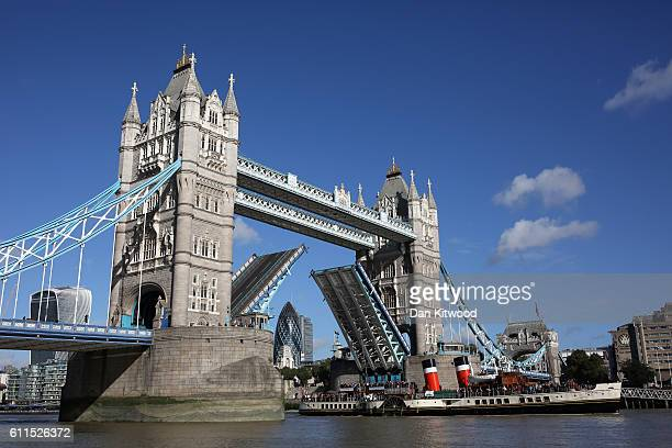 Tower Bridge is raised to let a boat pass through on September 30 2016 in London England Tower Bridge will shut tonight for the first time in 35...