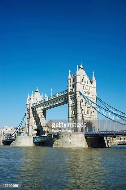 Tower Bridge London Bright Blue Sky Day River Thames