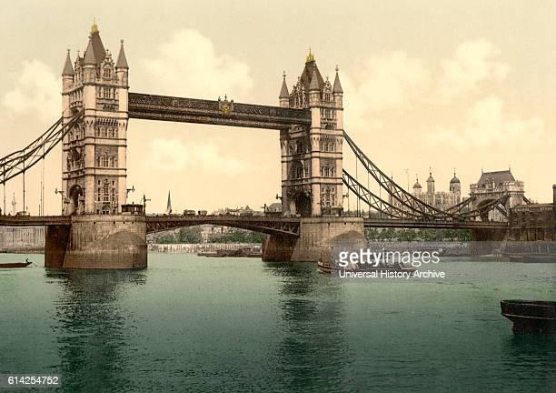 Tower Bridge London England Photochrome Print circa 1900