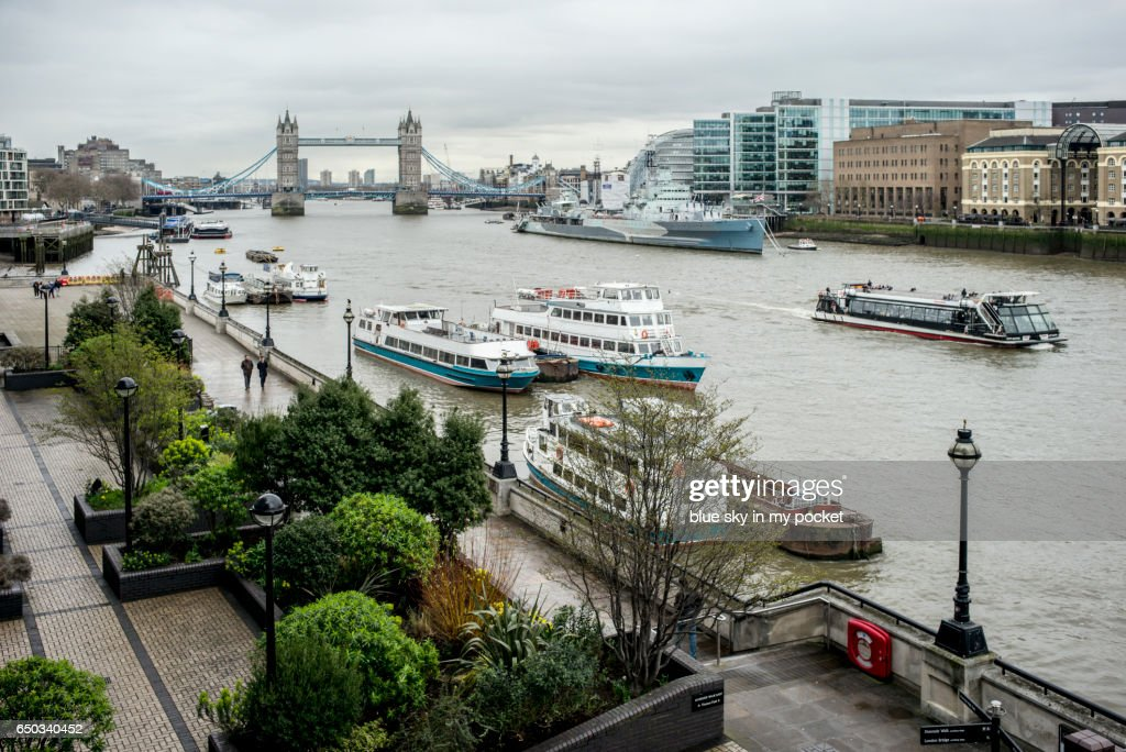 Tower bridge London on a over cast winters day : Stock Photo