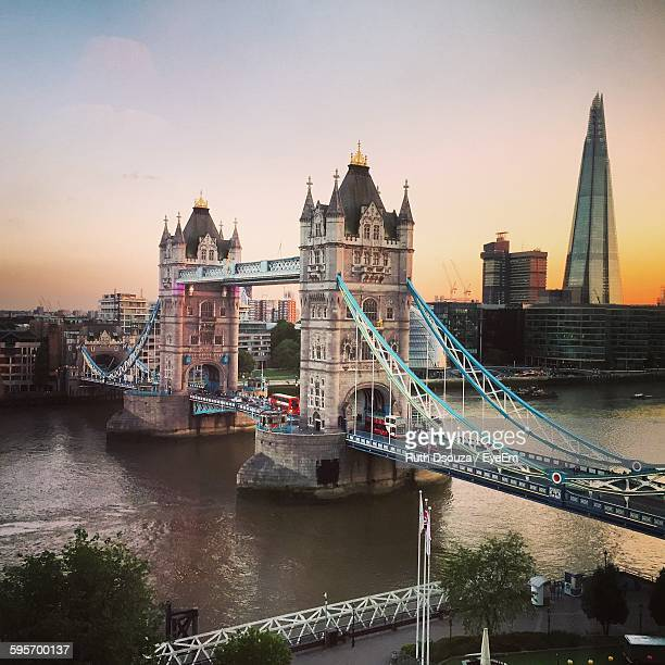 Tower Bridge Over Thames River During Sunset