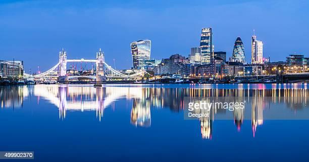 Tower Bridge Reflection and London City Skyline