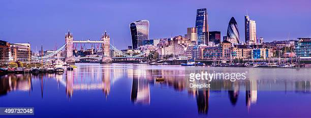 Tower Bridge Thames Reflection and London City Skyline