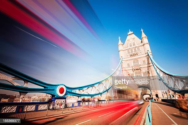 Tower Bridge with Blurred Traffic in London UK