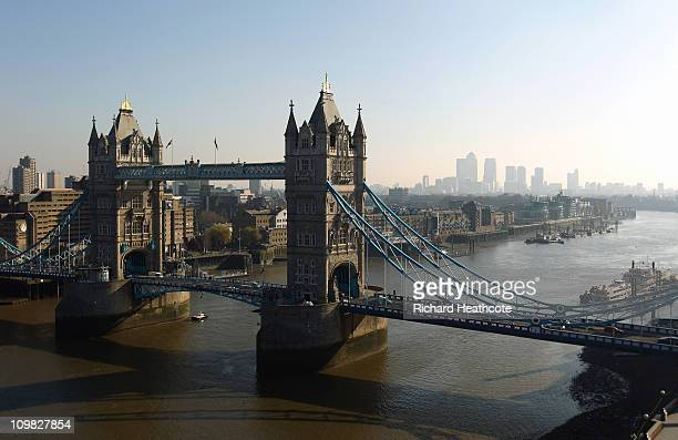 Tower Bridge with Canary Wharf in the distance viewed from the top of City Hall on March 7 2011 in London England