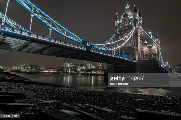 Tower bridge,river Thames,night,night photography,neon,lights,beach,low tide, under the bridge, London, England, UK,landscape,wide angle,city of...