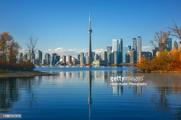 cn tower by lake ontario against clear sky in toronto, canada - toronto stock pictures, royalty-free photos & images