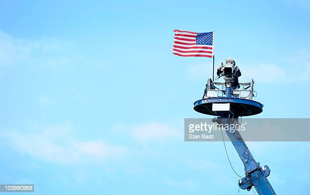 TV tower camera zooms in on play at the 18th hole during the second round of the BMW Championship at Cog Hill Golf Country Club on September 10 2010...