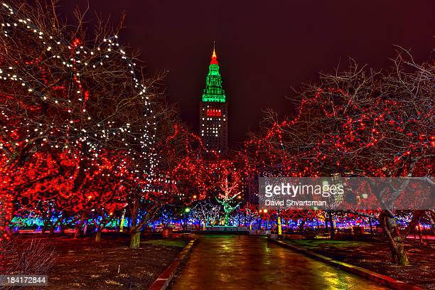 tower city in christmas lights - street fair stock photos and pictures