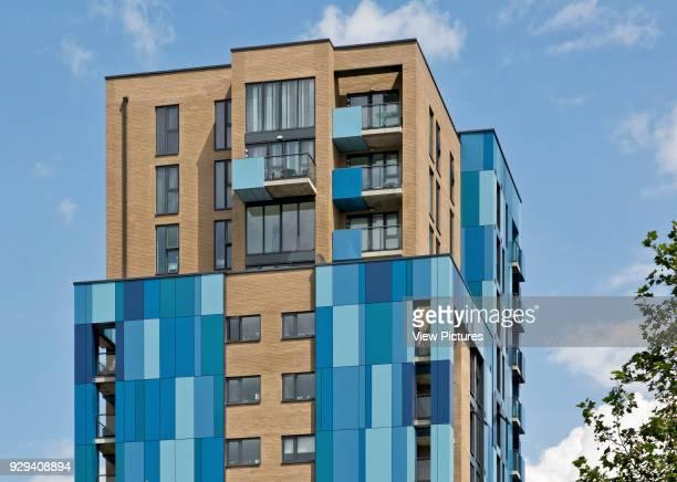 Tower detail Central Park Apartments Lewisham London United Kingdom Architect bptw partnership 2014