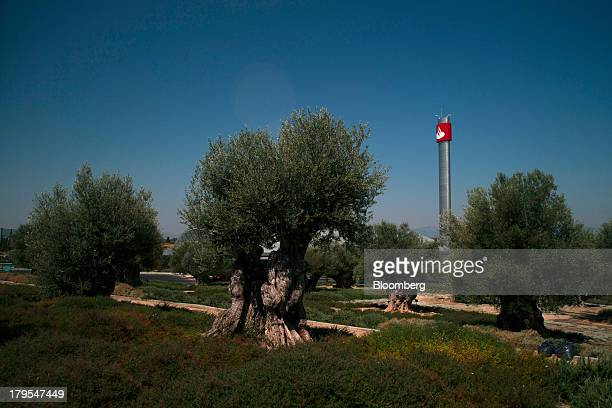 A tower displaying the company logo stands beyond an olive grove at the headquarters of Banco Santander SA in Madrid Spain on Wednesday Sept 4 2013...