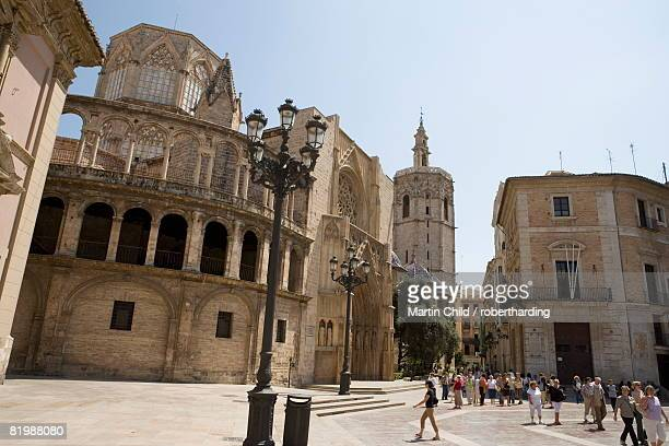 tower, el miguelet, plaza de la virgen, valencia, mediterranean, costa del azahar, spain, europe - castellon province stock pictures, royalty-free photos & images