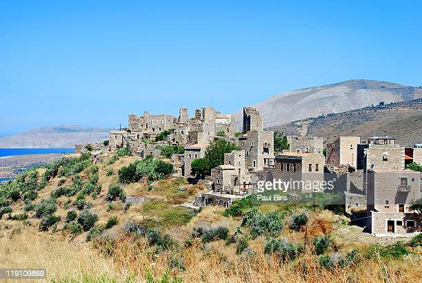 tower houses of vatheia - peloponnese stock photos and pictures