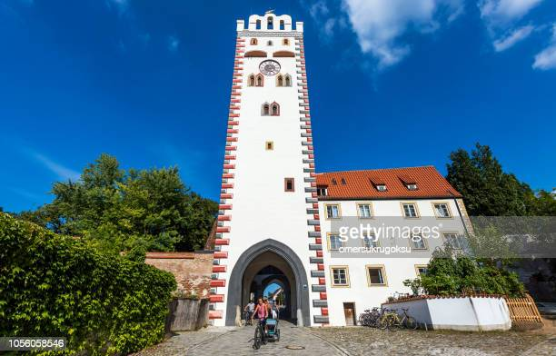 tower in landsberg am lech, germany - landsberg am lech stock pictures, royalty-free photos & images