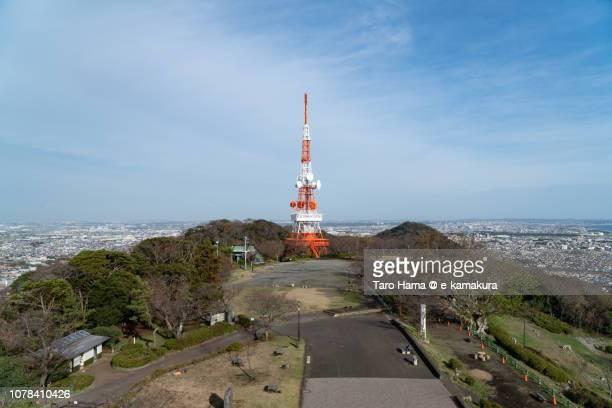 TV Tower in Shonandaira, Mt. Koma Park in Hiratsuka city and Sagami Bay, Pacific Ocean in Kanagawa prefecture in Japan