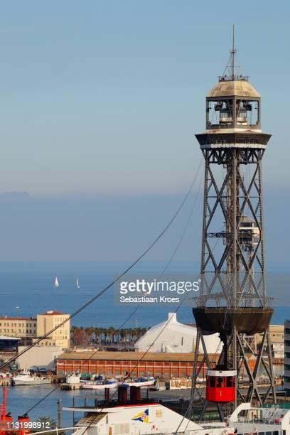 Tower Jaume I and Cable Car, Dusk, Telefèric del Port or Aeri del Port, Barcelona, Spain