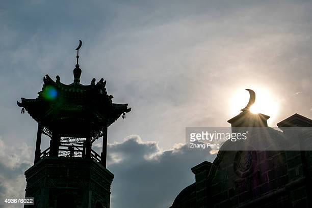 Tower of an ancient Muslim temple in the citycenter Tatong once an important coalmining city for its significant reserves now for the reason of...