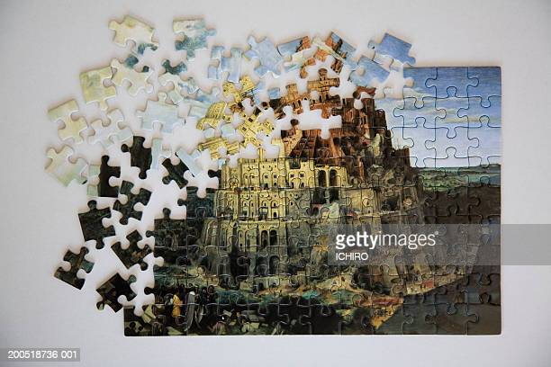 tower of babel jigsaw puzzle, overhead view - tower of babel stock photos and pictures